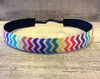 Multi Color Chevron Nonslip Headband, Noslip Headband, Rainbow Headband, Sports Headband, Running Headband, Athletic Headband