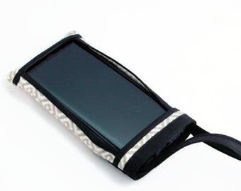 Cell Phone Pouch, Fabric Cell Phone Pouch, Cell Phone Cross Body Bag, Cell Phone Purse, Mini Cross Body Bag, Handbags, White & Gray Diamonds