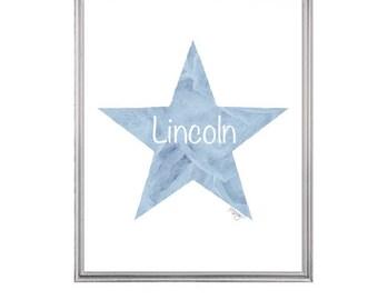Star Nursery Decor, Boys Blue Nursery Art, 8x10 Watercolor Star, Star Nursery Art, Baby Boy Nursery Art, Newborn Boy Gift, Personalized Name