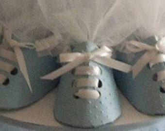 Adorable baby boy embossed shoe favors