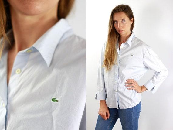 LACOSTE Shirt Blue Lacoste Button Shirt Blue Lacoste Top Lacoste Vintage Oxford Shirt Lacoste Shirt Blue Shirt Lacoste Shirt Long Sleeved
