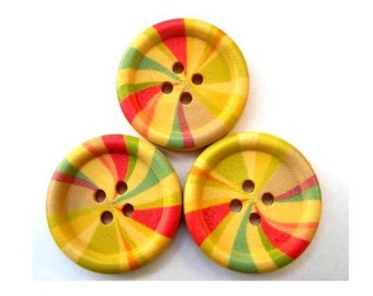 6 Wood buttons, colorful vivid ornament, 25mm