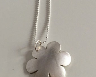 SALE- Domed flower pendant necklace, fine silver with sterling silver chain