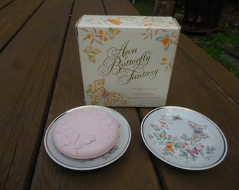 Vintage 1970s Avon Butterfly Fantasy 2 Porcelain Dishes and 1 Special Fragranced Soap NOS Retro Fancy Guest Bathroom Decor Collectible