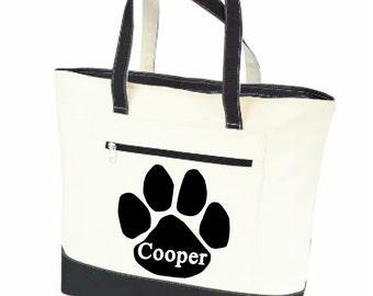 Dog tote, dog tote bags, Pet tote, personalized dog bag, pet name bag, paw print tote, pet supply bag, dog travel bag, canvas zippered bag,