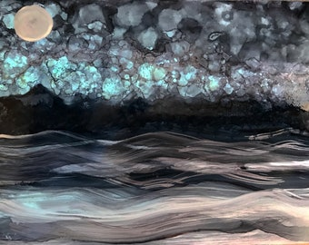 "Original Artwork 5x7"" ""Enchanted Night"" Alcohol Ink Painting"