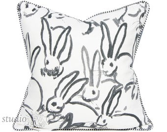 Bunny Fabric - Hutch Print - Black - Hunt Slonem - Lee Jofa - Groundworks - Lumbar - 20X20 - made to order