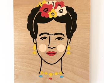 Frida Kahlo - Hand Painted Wall Plaque - 8x10