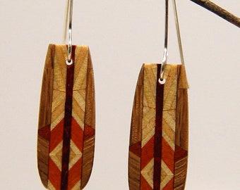 Wood Dangle, Drop, Silver Earwire, Wooden Earrings, earrings, 5-3