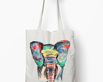 Elephant tote, canvas tote bag, elephant grocery bag