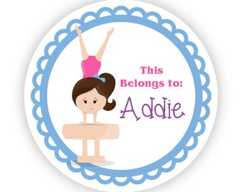 Personalized Name Label Stickers - Blue Pink Gymnast, Gym Labels, Little Girl Gymnastic Name Label Tag Stickers - Back to School Name Labels
