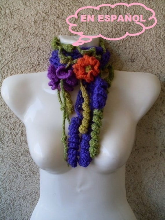 PATRON TUTORIAL Crochet bufanda cuello Formas libres
