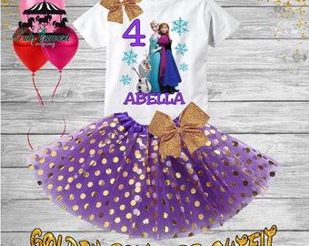 4th Birthday Tutu Outfit, Frozen Elsa Birthday Outfit, Birthday shirt, Tutu Set (gt66)