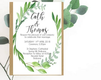 Watercolour Leaf Wreath Wedding Invitation | Botanical Wedding Invitation | Watercolour Leaf Wreath Wedding | Printed Wedding Invite