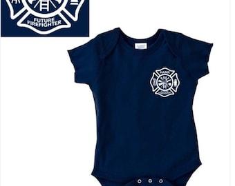 Personalized future firefighter shirt, firefighter onesie, fireman (white design)