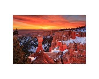 Bryce Canyon, Utah Photography, Utah Landscape, Utah Sunrise, National Park Photo, Warm Sunrise, Southwest Photo, Southwest Print, Hoodoos
