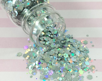 Chunky & Fine Silver Holographic Glitter Mix | Solvent Resistant Glitter for Nail Art and Crafts