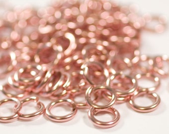 18g 4.5mm ID  6.6mm OD rose gold filled jump rings -- 14k pink goldfill jumprings 18g4.50  chainmaille rings links