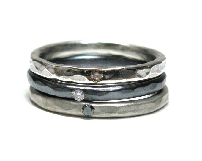 One Hammered Silver Diamond Stacking Ring. Champagne, White & Black Diamonds.