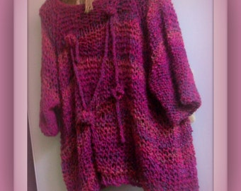SWEATER WOMEN KNITTED Pullover Oversized Loose Fitting Loose Knit Large Bulky Chunky Pink