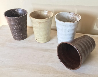 Set of 4 ceramic drinking glasses / stoneware drinkware / pottery / ceramic drinking glasses / speckled ceramic cups