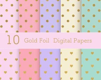Gold Foil Pastel Polka dot and Heart Digital Paper Scrapbook Paper Printable Paper