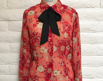 Vintage 90's red and peach floral blouse  / Size Medium