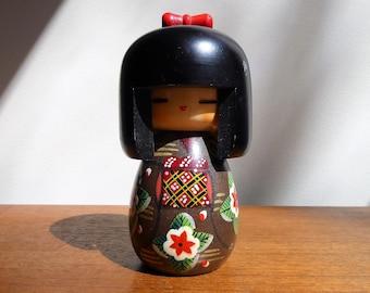 "Small 5"" Creative Kokeshi Doll | Black Hair with Bangs | Floral Brown Kimono | Red Yellow Black Obi | Japan"