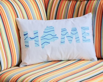 """Maine """"HOME"""" hand painted pillow"""