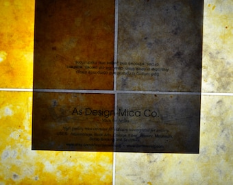 Light Weight Sheet Mica  golden pictured on right measuring 8.5 x 11 inches.