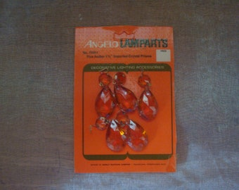 Vintage NOS Package of 5 Amber Imported Crystal Prisms By Angelo Lamparts
