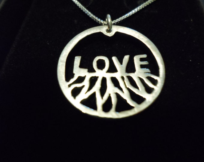 """Rooted in Love quarter size w/18"""" sterling silver chain"""