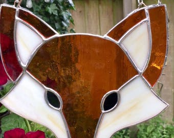 Stained glass handmade felix the fox in translucent amber and opaque cream glass