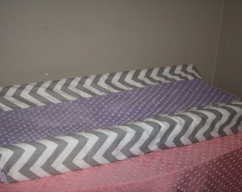 Deluxe Gray Chevron and Lilac Minky Contour Changing Pad Cover
