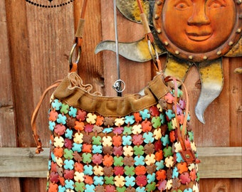 Lucky Brand Boho Leather Tote/Free People Distressed Bag/Recycled leather Shoulder Bag/Ethnic Bohemian Bag/Hippie Handbag/Brown Leather Bag