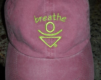 Empowered Zone,  Maroon baseball hat, BREATHE, Mantra,  Baseball hat, Law of attraction