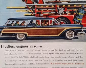 Ford Country Squire St. Wagon 1959 Woody Family Fire Engine Truck Tiller Steering Fun Family Kids & Dog Classic Funny  13 x 10.  Ready Frame