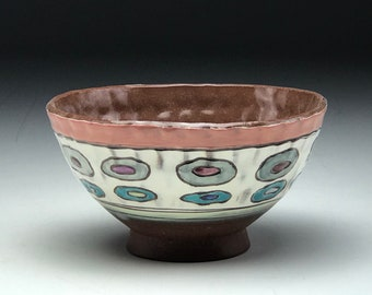 Colorful ceramic bowl, hand thrown bowl, wheel thrown pottery, geometric pattern, pinched clay bowl, polka dot pattern, red stoneware clay