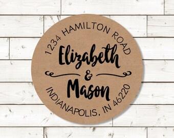 Return Address Sticker,  sheet of 20, custom- 2 inch circle, brown kraft label,  wedding announcements, wedding favor