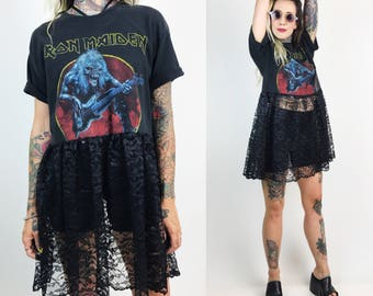 The Lunar Eclipse Lace Dress - IRON MAIDEN Band Tee Shirt Dress Upcycled Band Tee - Grungie Sheer Dress - Metal Goth Black Lace Mini Dress