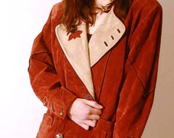 vintage suede leather jacket dirndl fall leave application size medium large