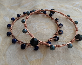 Pair of copper wire and semiprecious bead bangles
