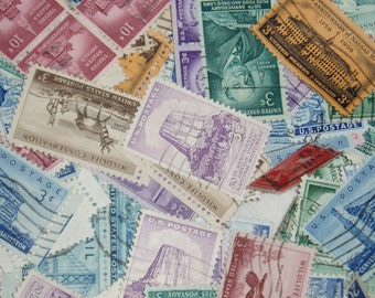 USA Postage Stamp Mixture, 100 Stamps, 1940's-1950's
