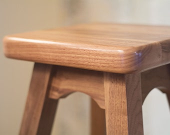 Bar Stool – Wood Stool Ideal Height for Bar or Counter in Walnut Wood