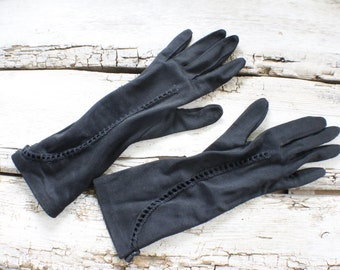 vintage, gloves  black, formal, wrist length, flared, steampunk, gift, costume, rockabilly, pinup, goth, wedding, bridal, bridesmaid, prom