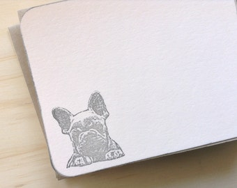 vintage inspired flat note cards and envelopes, french bulldog, set of 10, a2, stationery set