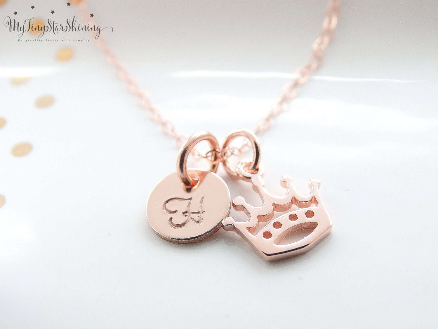 Crown necklace rose gold necklace rose gold initial necklace rose crown necklace rose gold necklace rose gold initial necklace rose gold crown necklace gold initial necklace charm crown charm necklace aloadofball