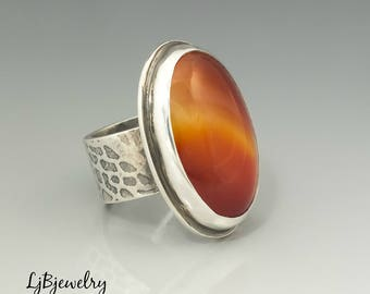 Silver Carnelian Ring, Silver Jewelry, Sterling Silver, Carnelian, Metalsmith, Silversmith, Art jewelry, Handmade Ring, Statement Ring
