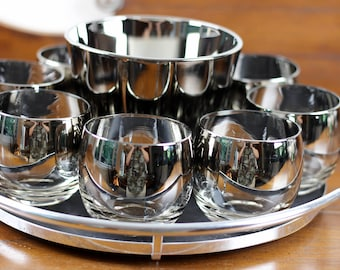 Mid Century Silver Ombre Roly Poly Glasses with Ice Bucket and Tray Queens Lusterware 10 pc Set