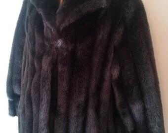 Vintage Dark Brown Faux Fur Swing Short Coat, Blackish Fur Short Coat, Large Fun Fur Coat, Chocolate Brown Faux Fur Coat, Wiman Coat, Large